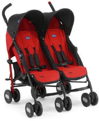 Chicco Wózek Spacerowy Bliźniak Echo Garnet 0m+ Chicco Wózek dla Bliźniąt Echo Twin Czerwony 0m+