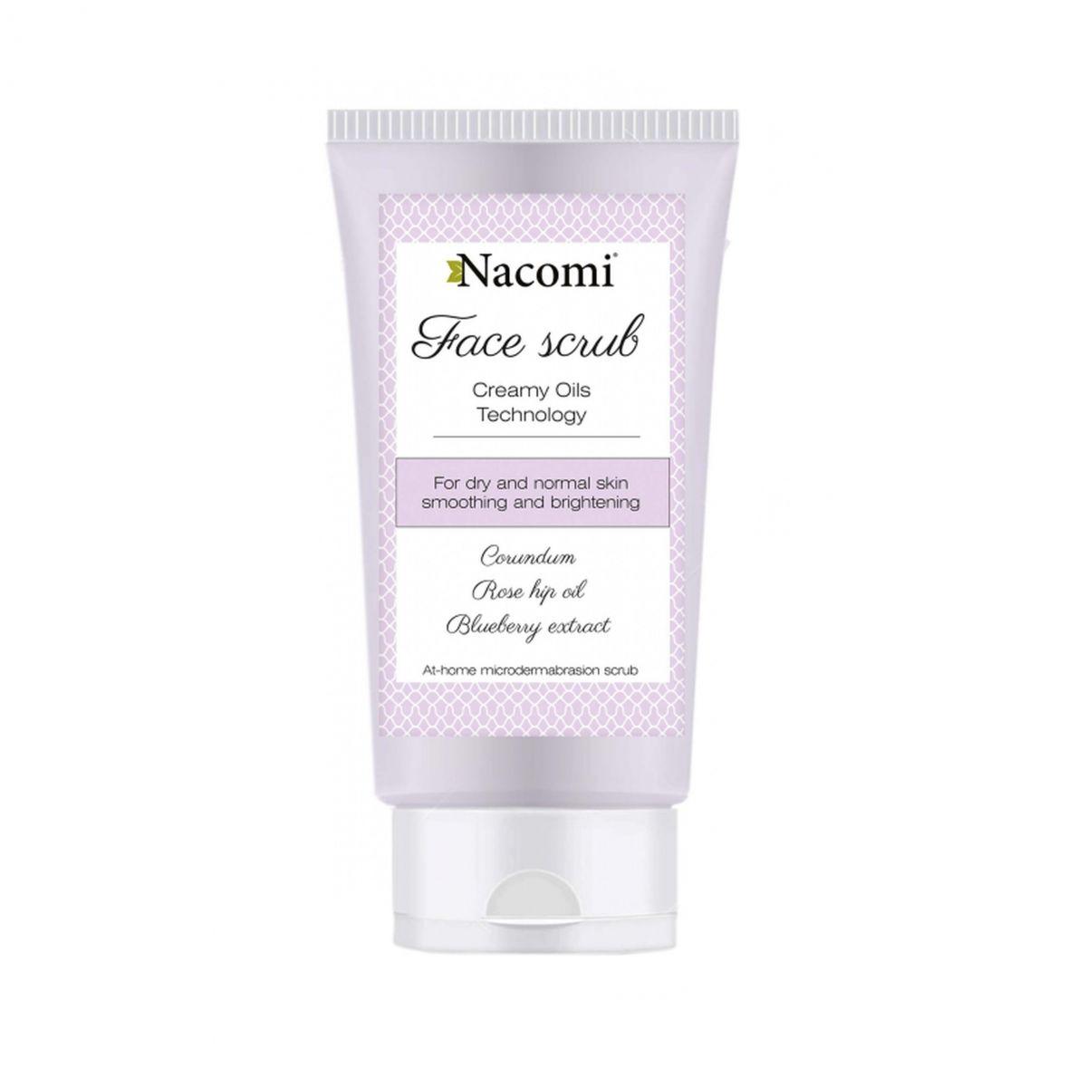 Wygładzający peeling do twarzy z korundem i olejem z dzikiej róży - 85ml - Nacomi