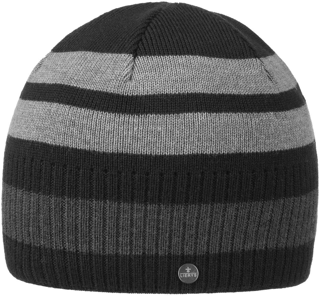 Czapka Beanie Fine Merino Stripes by Lierys, czarny, One Size