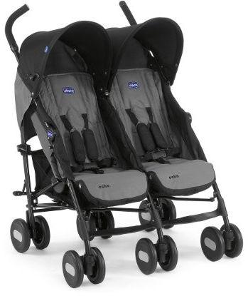 Chicco Wózek Spacerowy Bliźniak Echo Coal 0m+ Chicco Wózek dla Bliźniąt Echo Twin Szary 0m+