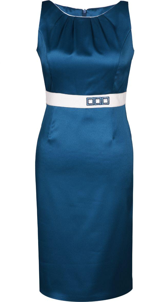 Sukienka FSU797 ZIELONY MORSKI + EKRI