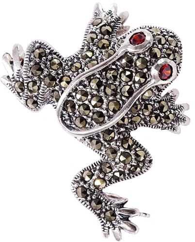 PIXI Srebrna broszka z markazytami, żabka