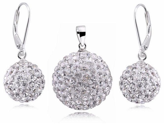 Duży srebrny komplet kule Swarovski shamballa srebro 925 Z617_12_20