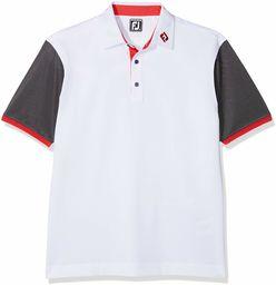 FootJoy Męska koszulka z krótkim rękawem Pique Striped Colour Block Polo Golf, S biały/jasnoniebieski