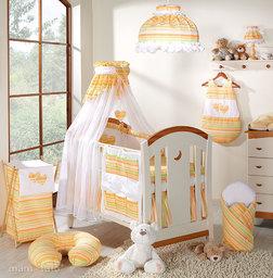 MAMO-TATO pościel 5-el Serduszka w paseczkach marchewkowych do łóżeczka 60x120cm - Szyfon