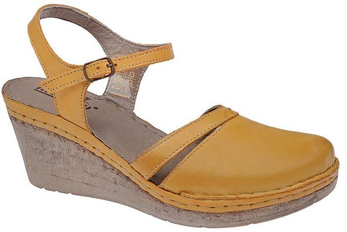 Sandały MANITU 920206-6 Gelb Żółte na koturnie