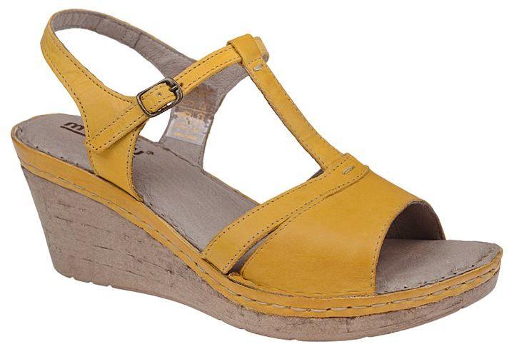 Sandały MANITU 910508-6 Gelb Żółte na koturnie