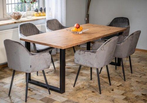 Stół loftowy rozkładany - 160x260x90 - FIORD - Dąb
