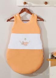 MAMO-TATO Śpiworek niemowlęcy haftowany Miś w hamaku w łososiu