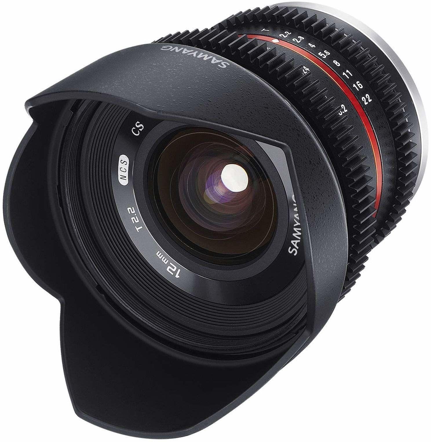 Samyang 12 mm T2.2 VDSLR ręczna ostrość obiektywu wideo do mikro cztery trzecie