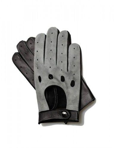 Męskie rękawiczki do prowadzenia samochodu, czarno-szare