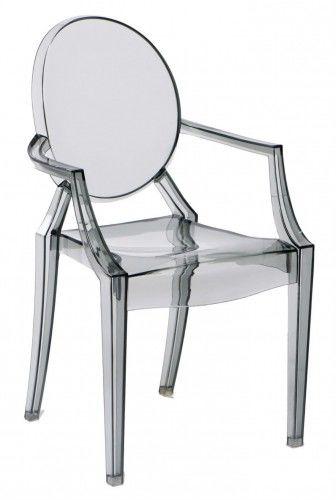 Krzesło Duch inspiracja Louis Ghost szare transparentne