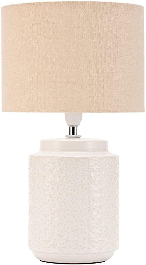 Pauleen 48220 Charming Bloom lampa stołowa maks. 20 W ręcznie wykonana beż lampka nocna w stylu boho z materiału, ceramika E14