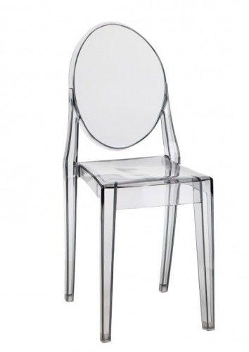 Krzesło Duch II inspiracja proj. Victoria Ghost szare dymione