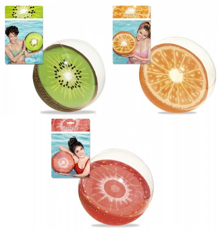 Piłka plażowa dmuchana 46cm owoce Bestway 6184-KIWI 6184-TRUSKAWKA, Wzór: Truskawka
