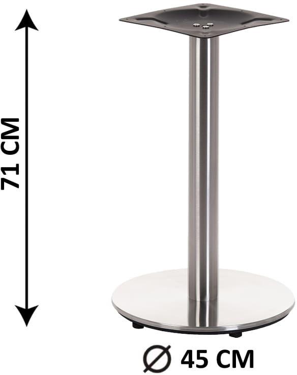 Podstawa stolika SH-2001-1/S, fi 45 cm, stal nierdzewna szczotkowana, obciążnik z tworzywa sztucznego, (stelaż stolika)