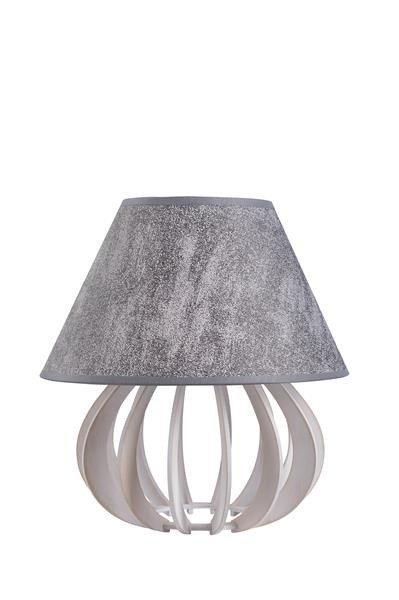 Drewniana lampa stołowa z abażurem NORA 940 biały/szary śr. 25cm