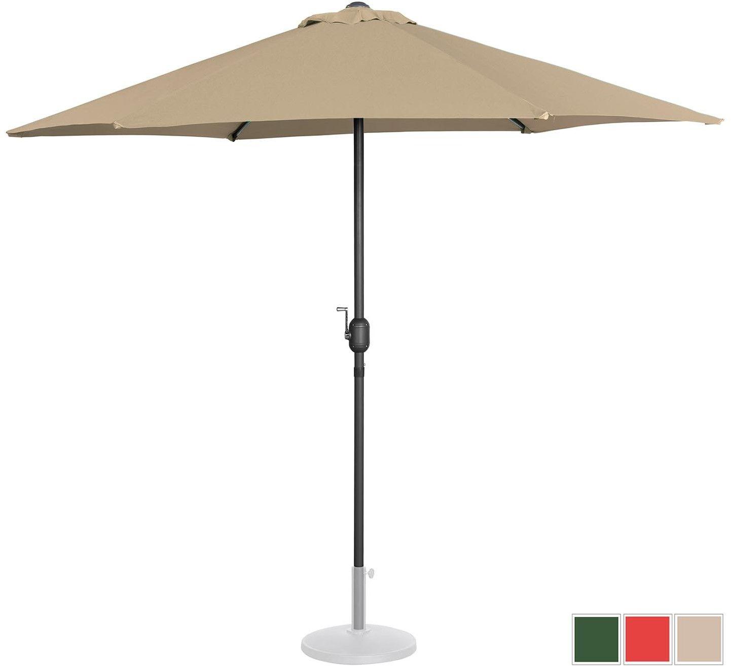 Parasol ogrodowy stojący - 270 cm - beżowy - Uniprodo - UNI_UMBRELLA_MR270TA - 3 lata gwarancji/wysyłka w 24h