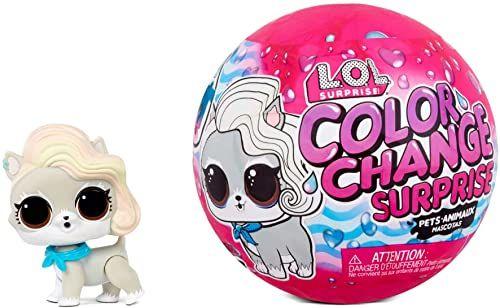 LOL Surprise Zmiana koloru Surprise Pets. Uroczy zwierzak z 6 niespodziankami, zabawnym efektem zmiany koloru w lodowatej wodzie i modnymi akcesoriami. Kolekcjonerskie zwierzaki dla dzieci w wieku 3+