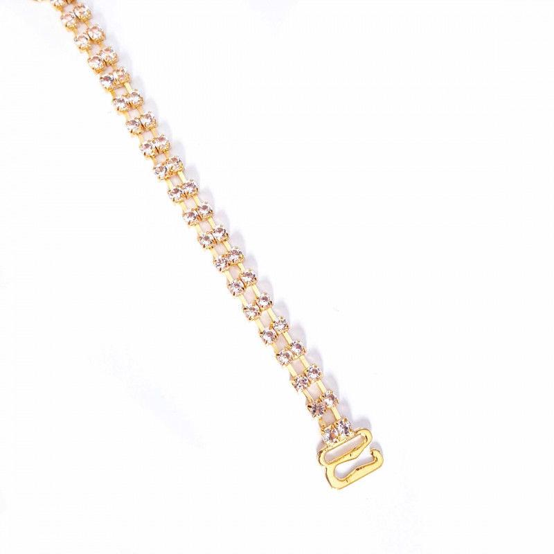 Ozdobne ramiączka do biustonosza podwójne cyrkonie złote+ sylikon BS001352