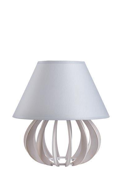 Drewniana lampa stołowa z abażurem NORA 941 biały/szary śr. 25cm