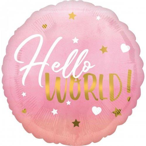 Balon foliowy Hello World, różowy
