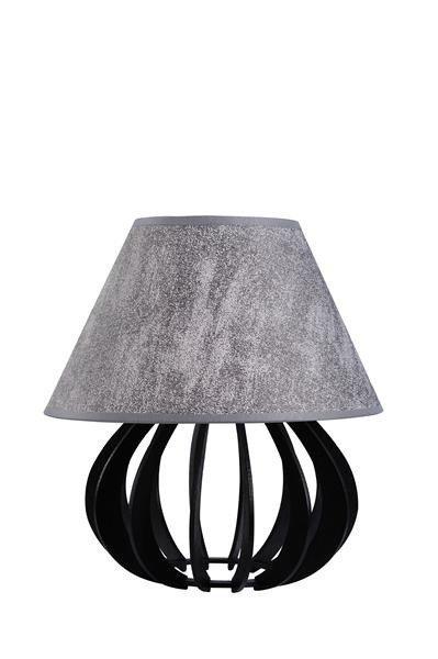 Drewniana lampa stołowa z abażurem NORA 961 czarny/szary śr. 25cm
