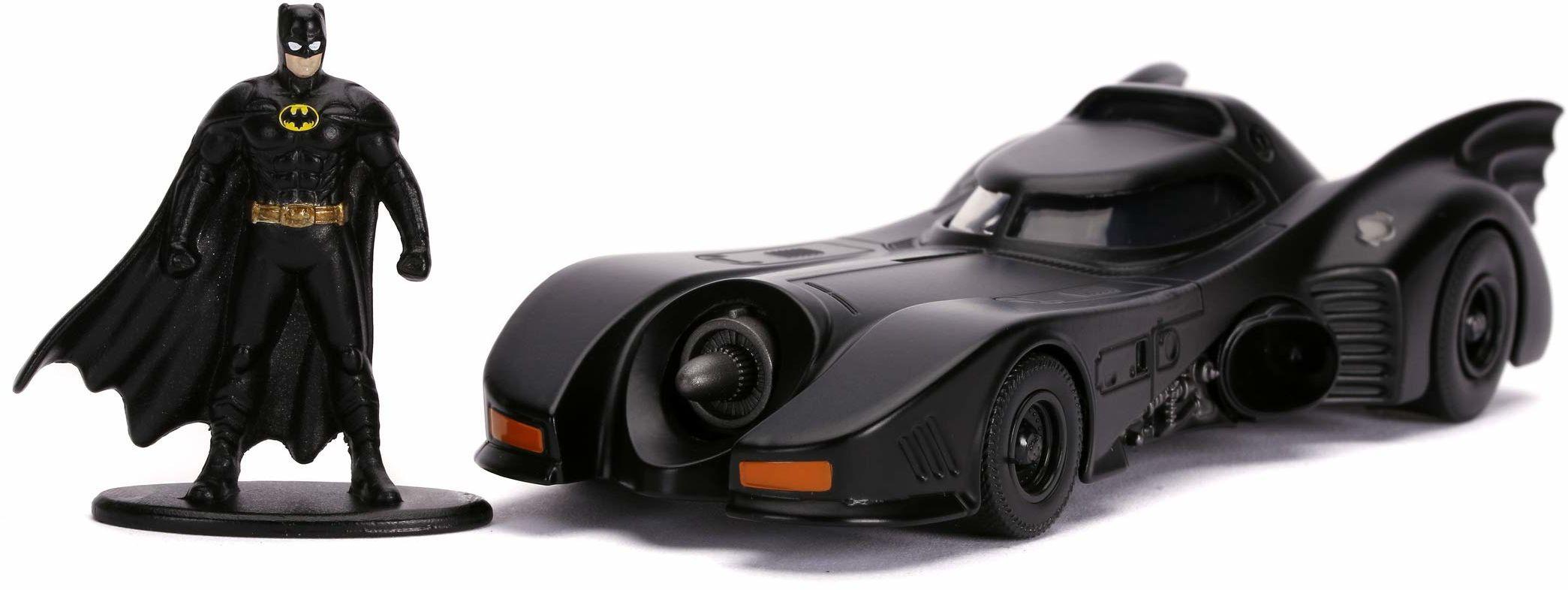 Jada Toys 253213003 1989 Batmobile, zabawkowy samochód, otwierane drzwi, Die-Cast, wraz z figurką Batmana, skala 1:32, czarny