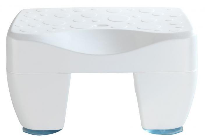 Stołek do wanny z przyssawkami plastikowy biały