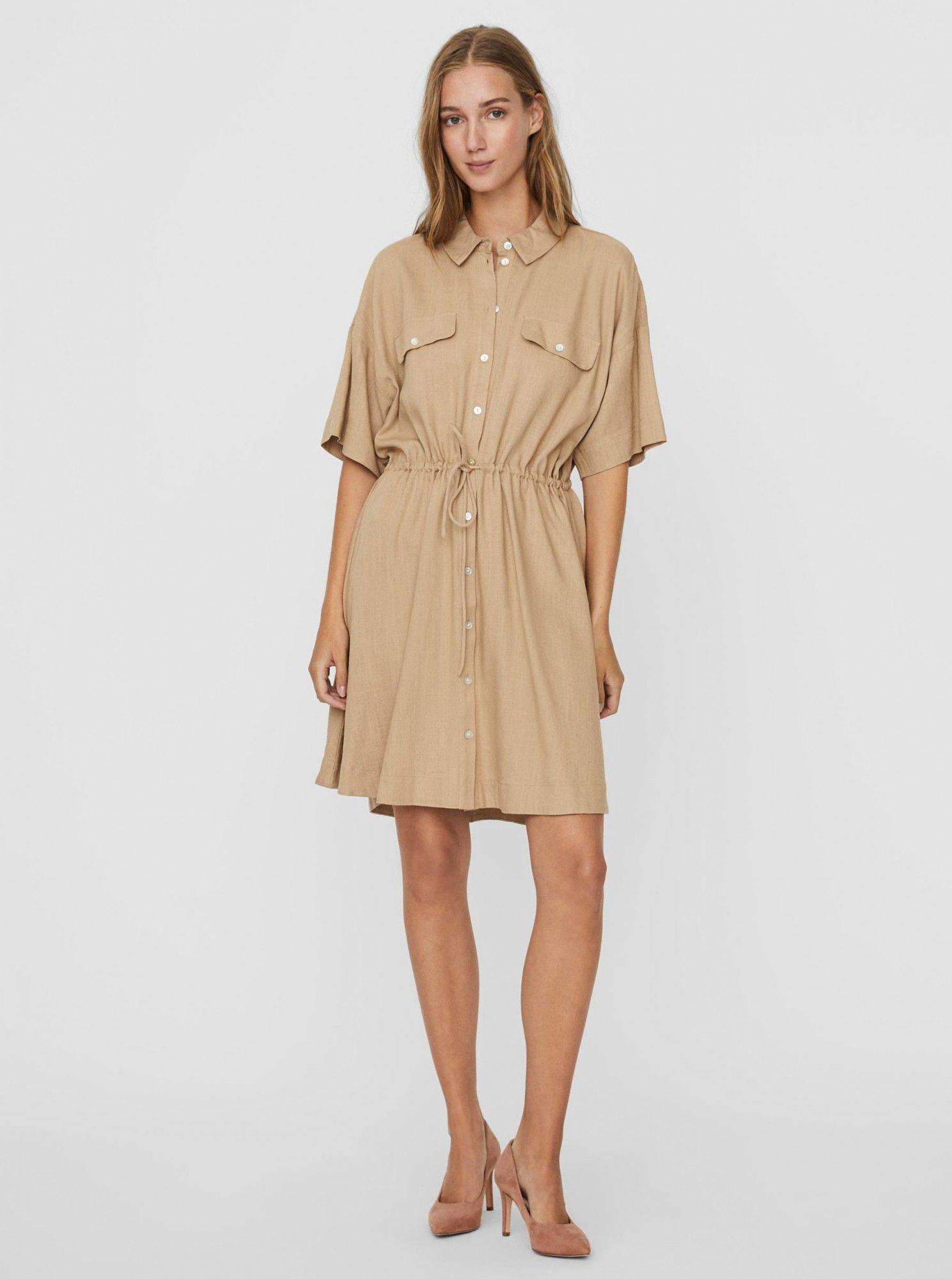 Vero Moda beżowy koszulowa sukienka Haf