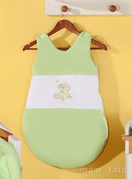 MAMO-TATO Śpiworek niemowlęcy haftowany Miś na chmurce w zieleni