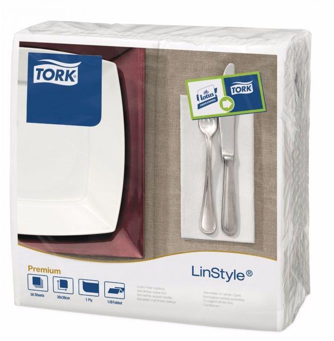 Serwetka obiadowa dekoracyjna Tork Linstyle Biała