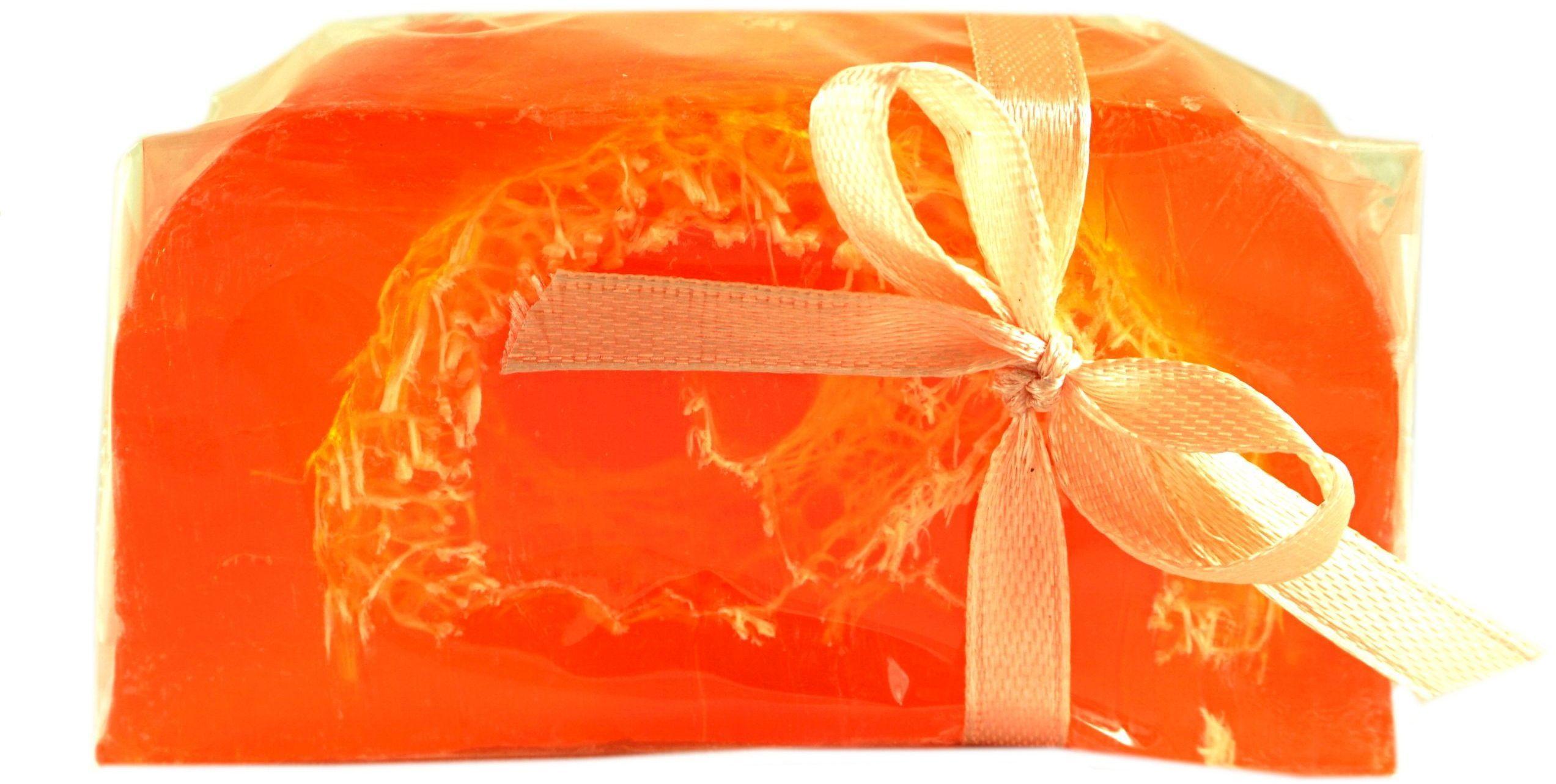 Mydło Glicerynowe z gąbką Loofah - Pomarańcza - 100g - Lavea