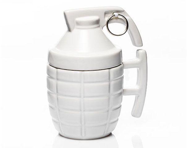 Kubek granat z zawleczką- biały