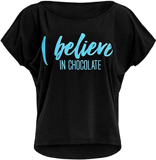 WINSHAPE Damska koszulka Winshape Damen Ultra Leichtes Modal-kurzarmshirt Mct002 Mit Neon Blauem ''I Believe in Chocolate'' Glitzer-aufdruck T-shirt Schwarz-neon-blau-brokat XS
