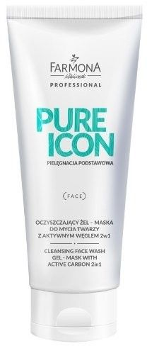 Farmona Pure Icon Oczyszczający Żel - Maska Do Mycia Twarzy z Aktywnym Węglem 2w1 200ml