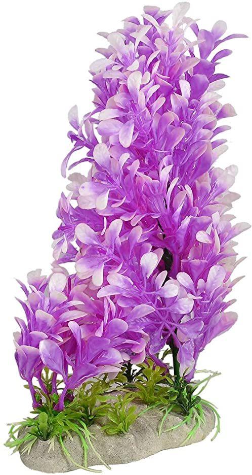 Sourcingmap plastikowe liście roślina dekoracyjna do akwarium, 18 cm, fuksja/biała