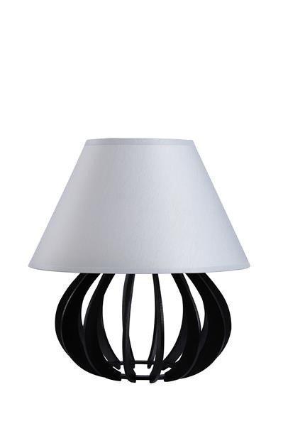 Drewniana lampa stołowa z abażurem NORA 963 czarny/szary śr. 25cm