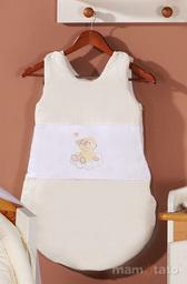 MAMO-TATO Śpiworek niemowlęcy haftowany Miś na chmurce w kremie
