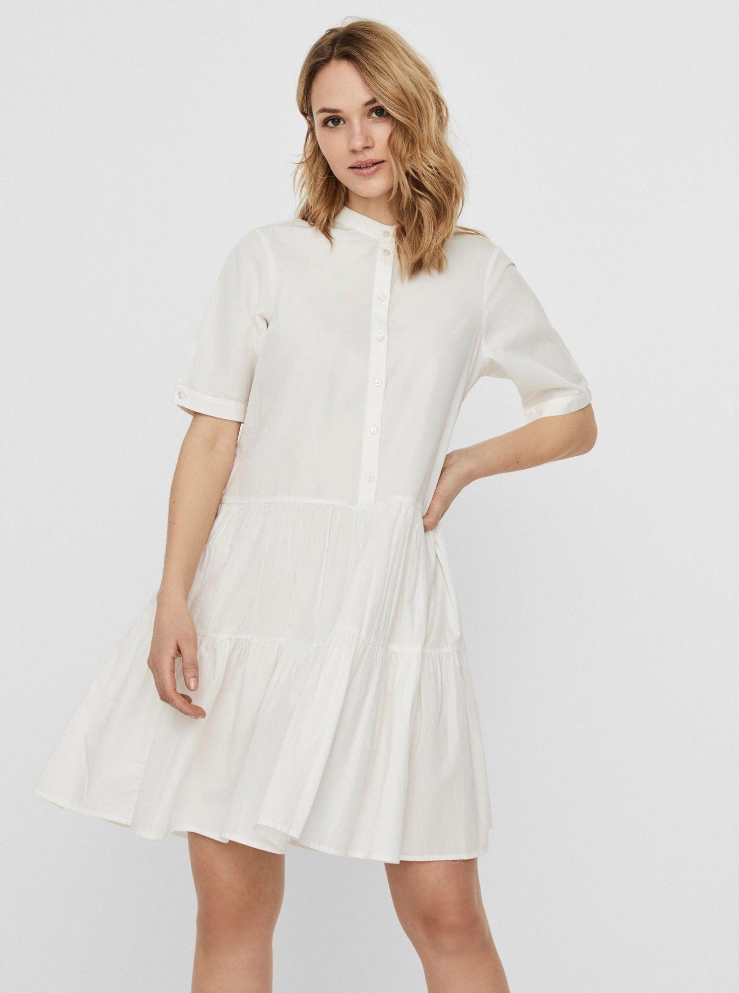 Vero Moda biały koszulowa sukienka Delta
