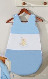 MAMO-TATO Śpiworek niemowlęcy haftowany Miś na chmurce w błękicie