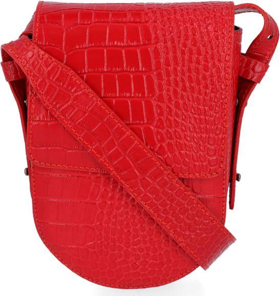 Eleganckie Torebki Skórzane Listonoszki w motyw aligatora firmy VITTORIA GOTTI Czerwona (kolory)