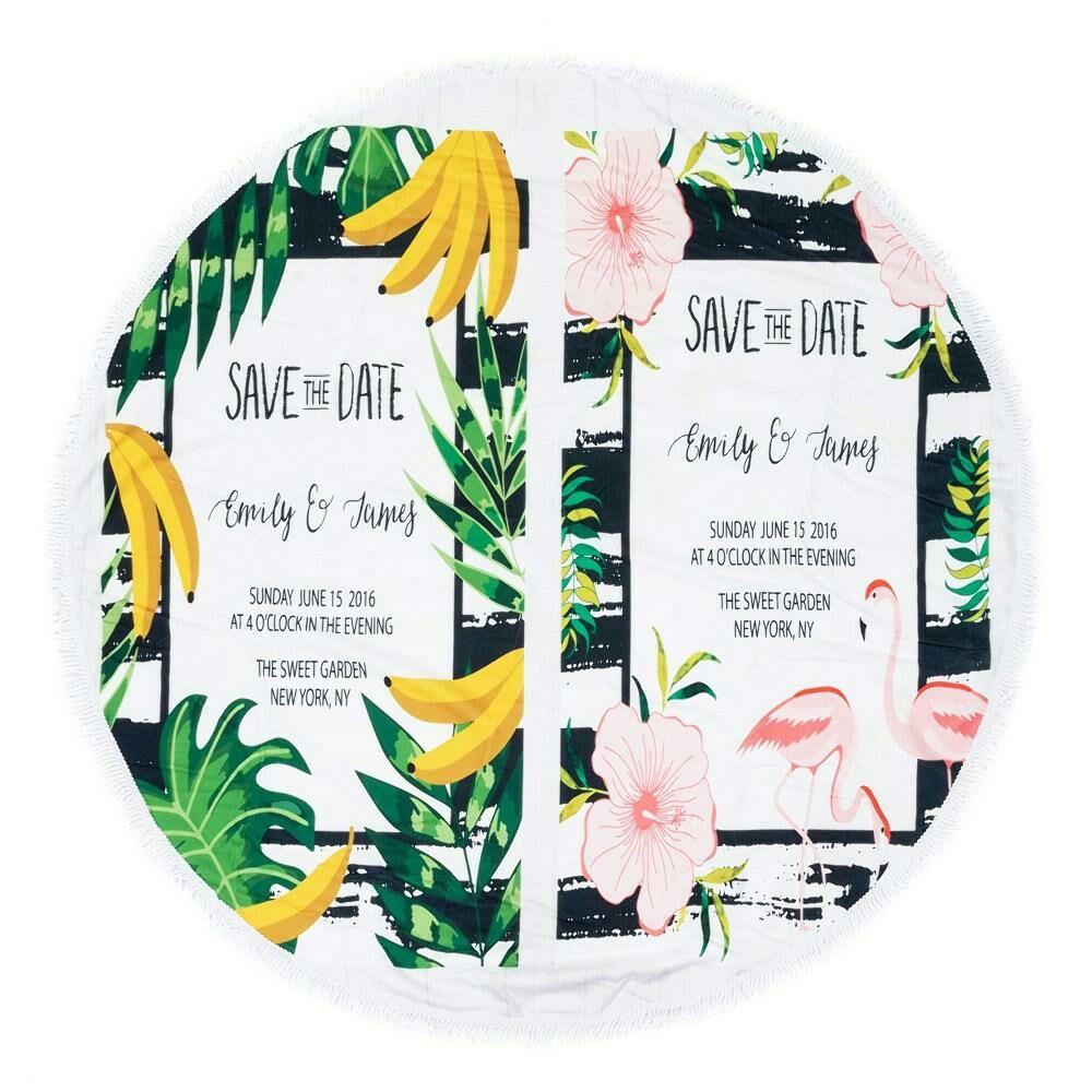 Ręcznik koc okrągły plażowy Boho 03 banany liście kwiaty 150 cm mikrofibra 250g/m2 flamingi Safe the date