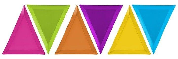 Talerzyki trójkątne kolorowe Potworki 6 sztuk TPP9