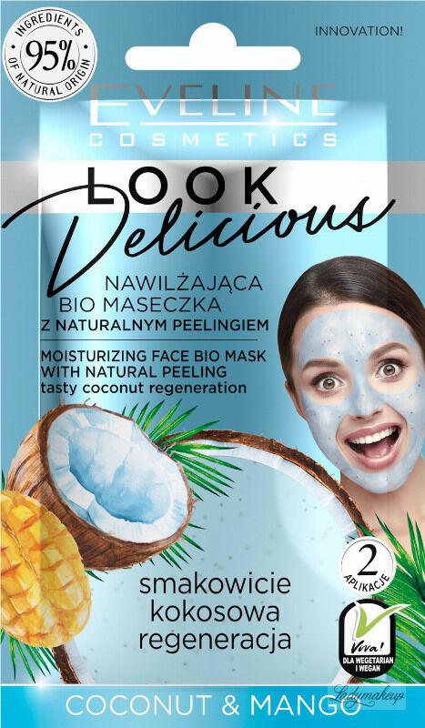 Eveline Cosmetics - Look Delicious - Nawilżająca Bio maseczka do twarzy + Naturalny scrub - Kokos & Mango - 10 ml