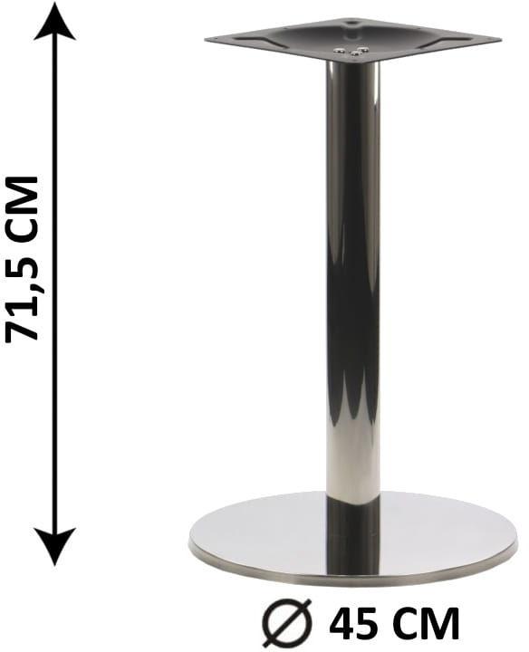 Podstawa stolika SH-2001-1/P, fi 45 cm, stal nierdzewna polerowana, obciążnik z tworzywa sztucznego (stelaż stolika)