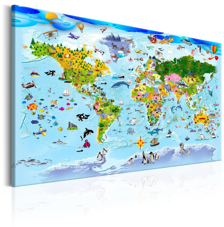 Obraz - mapa dla dzieci: kolorowe podróże