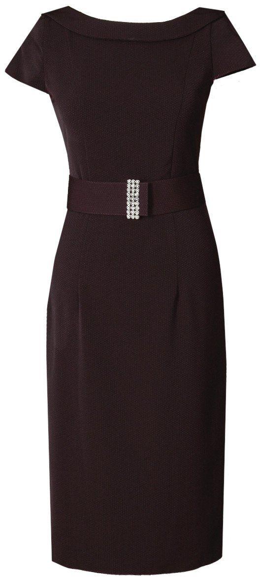 Sukienka FSU199 BORDOWY kropki