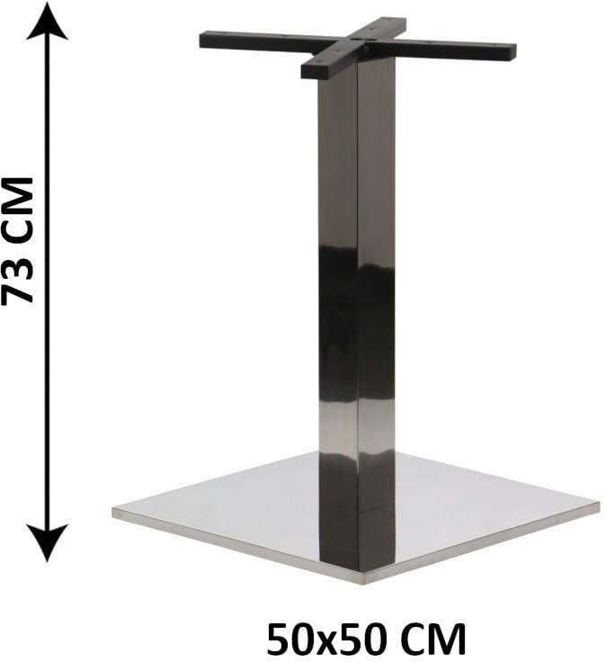 Podstawa stolika SH-2002-2/P, 50x50 cm, stal nierdzewna polerowana, obciążnik z tworzywa sztucznego, (stelaż stolika)