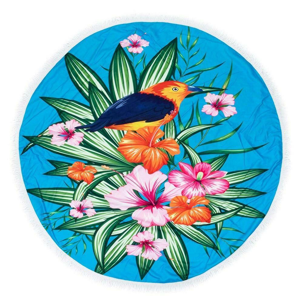 Ręcznik koc okrągły plażowy Boho 07 kwiaty ptaszek 150 cm mikrofibra 250g/m2 liście